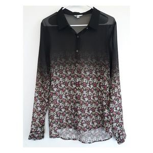 Volcom floral ombre button down sheer top
